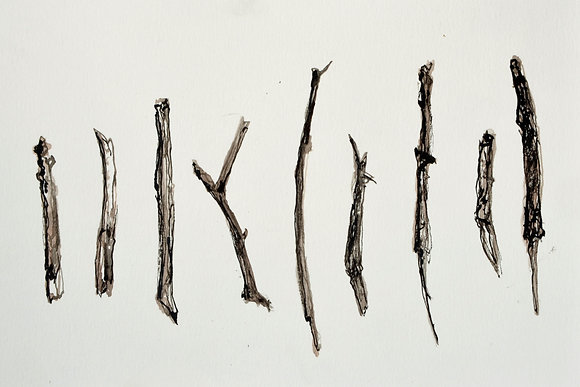 9 Drawing Sticks drawn with the Same 9 Drawing Sticks
