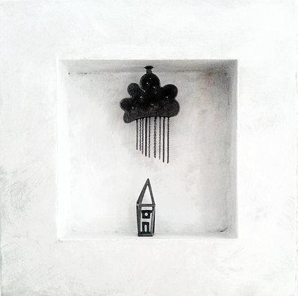 Haus mit Fenster im Regen