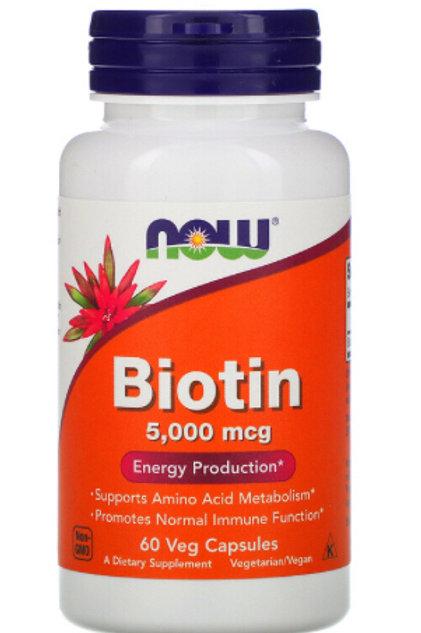 Biotin, 5,000 mcg, 60 Veg Capsules