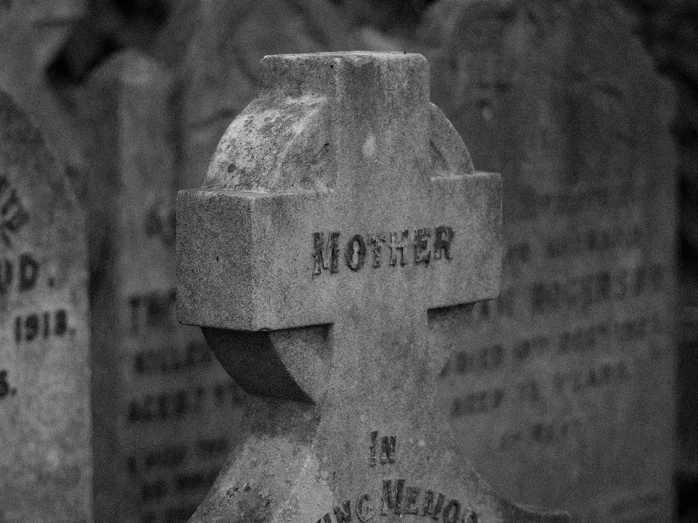 Goodnight, Mother. Gravestones. What lies beneath the bluebells and the moss. Graveyards in Scotland.