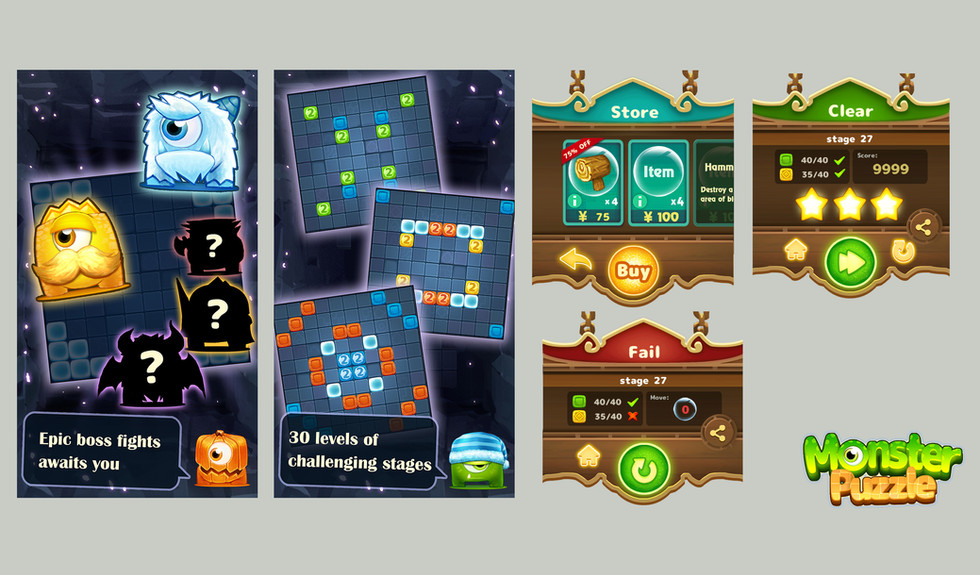 Monster Puzzle_UI and Banner Design
