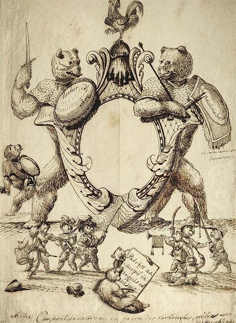 Anonym – Allegorische Figuren mit Kartusche, 18. Jh., wohl Bern