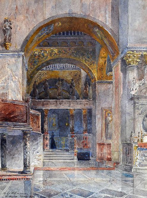 Wilhelm Ludwig Lehmann – Inneres von San Marco in Venedig (VERKAUFT)