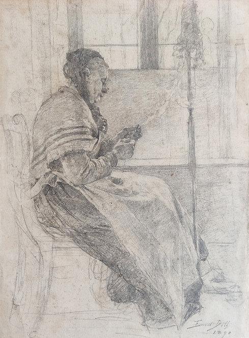 Emil Dill – Frau am Spinnrocken