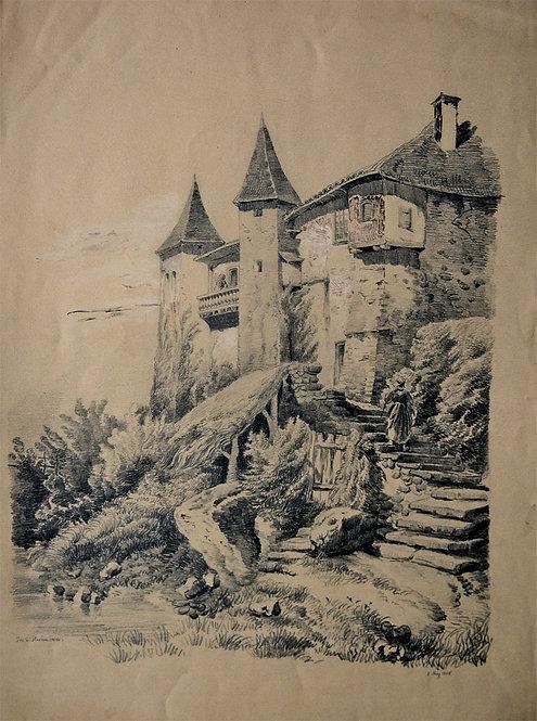 Signierte Bleistiftzeichnung des 19. Jahrhunderts