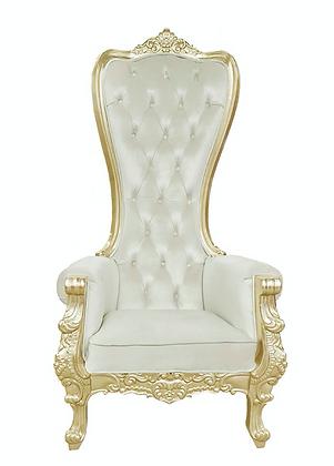 Queen Beige Velvet Gold Trim Throne