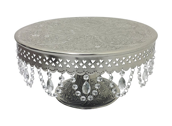 """16"""" Silver Crystal Round Cake Stand"""