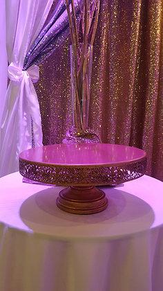 "16"" Gold Victorian Round Cake Stand"