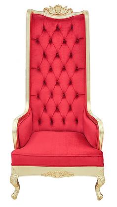 King Red Velvet Gold Trim Throne