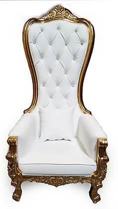 Queen White Leather Gold Trim Throne