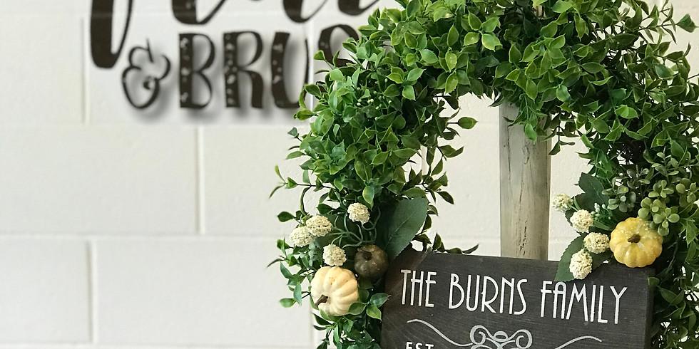 Wreath w/ Placard & Wreath Stand