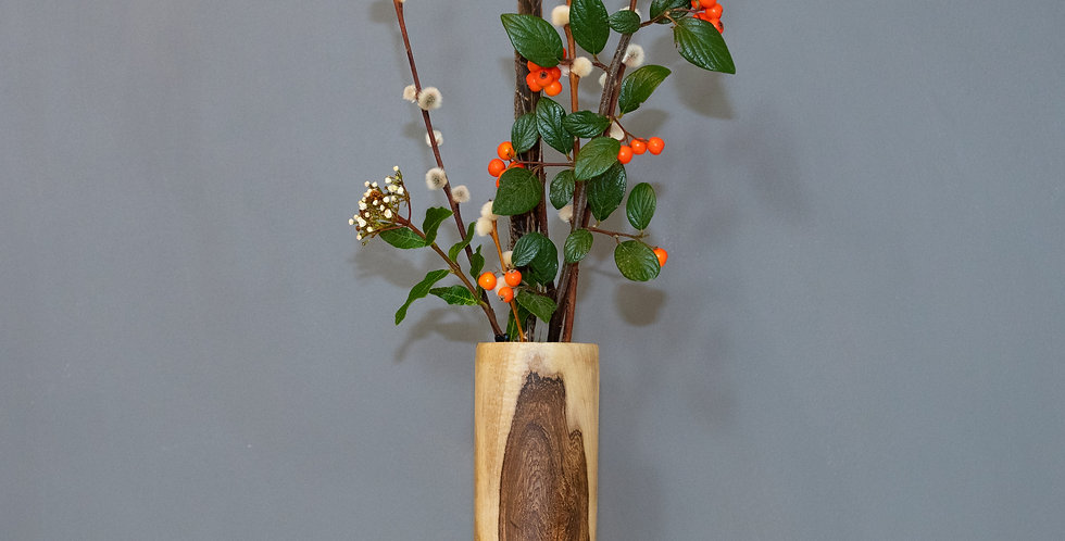 Tall Straight Walnut Vase