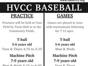 Baseball and T-ball start this week!