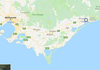 Map of Victoria showing Twin Rivers Region, East Gippsland, Victoria