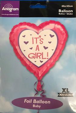 Its A Girl Heart Balloon