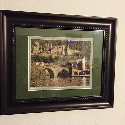 Large Framed Custom Embroidered Places