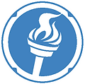 Logo Calmer Blue Torch White Background.