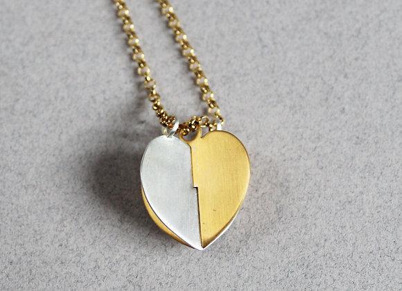 Grands coeurs - Plaqué or jaune et argent sablés