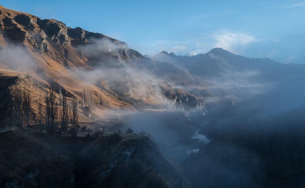 New Zealand misty valley.