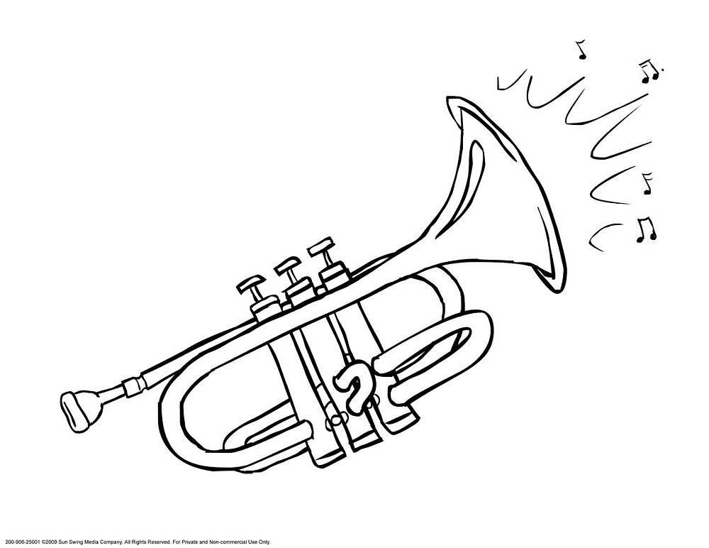 Image result for musical colouring page trumpet