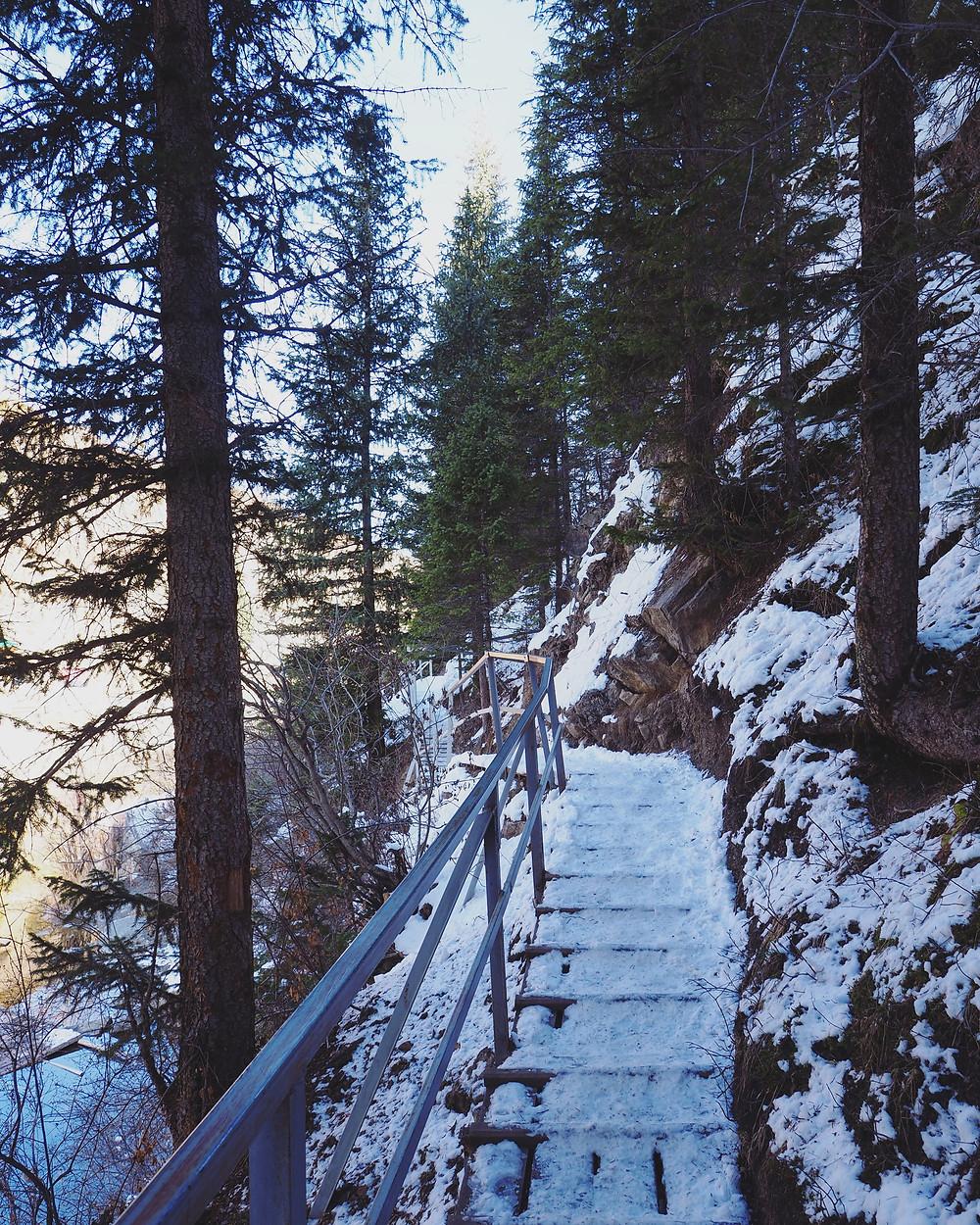 阶梯积满了雪就变成了滑梯。