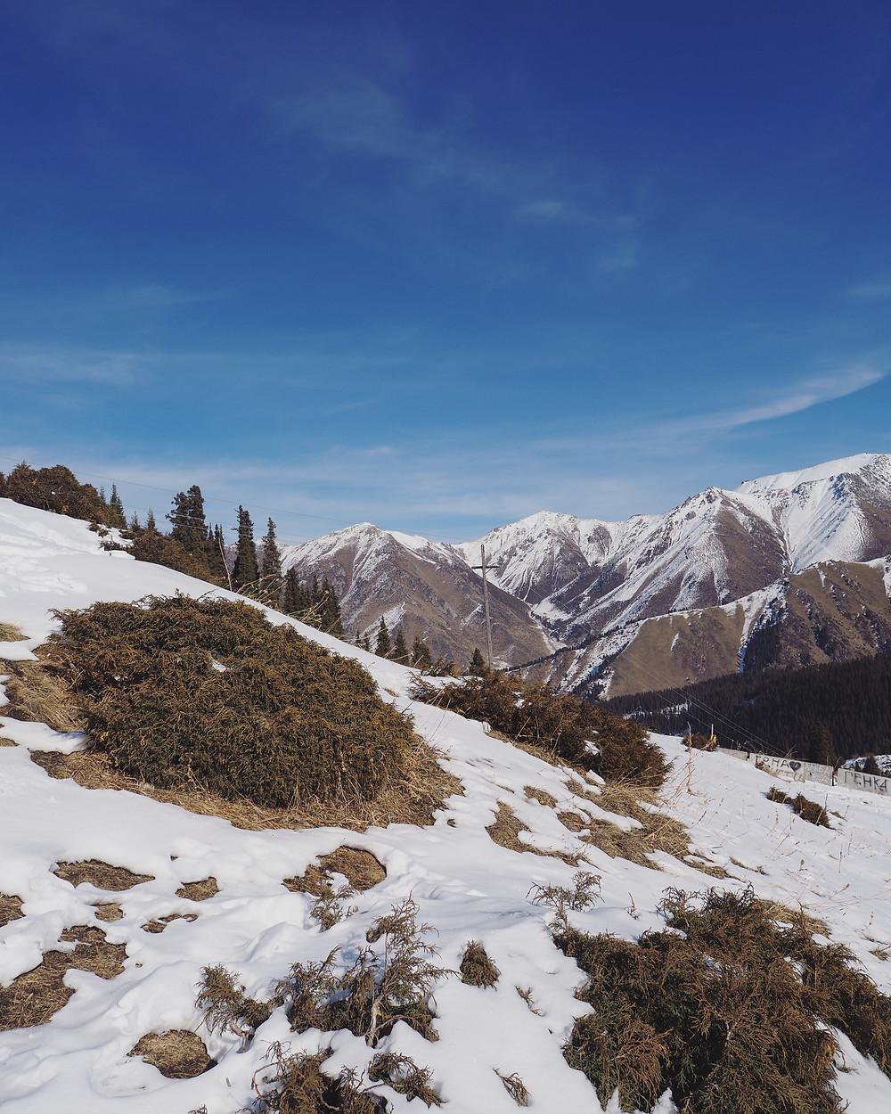 斜坡上全铺满了白雪。