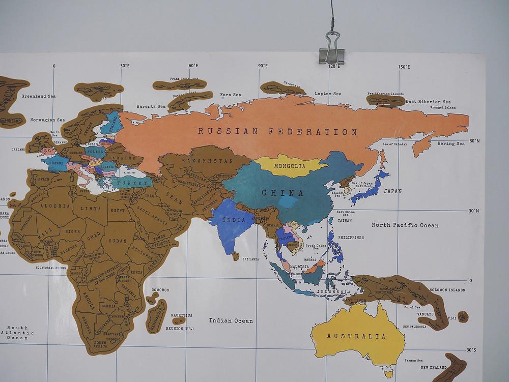 显示Kaiyi 和Tobby 所去过的国家的地图。