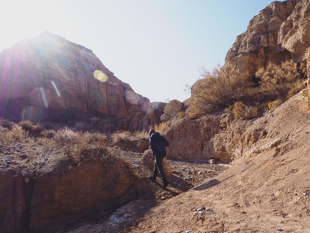 四方脸一拐一拐地走在石泥路上。