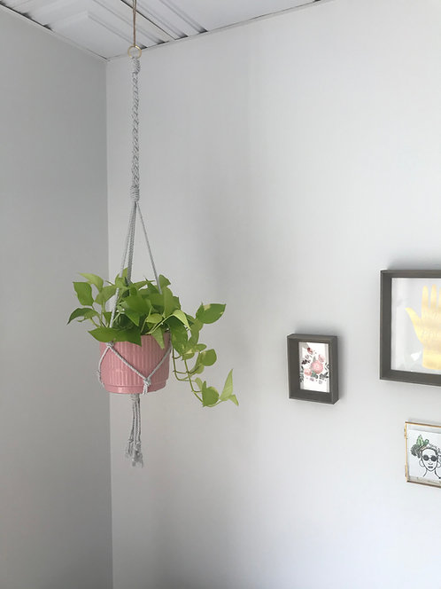 Single Plant Hanger with Brass Attachment and Braid