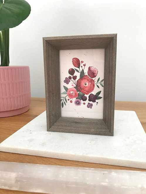 Brush and Bird Print in Wood Frame