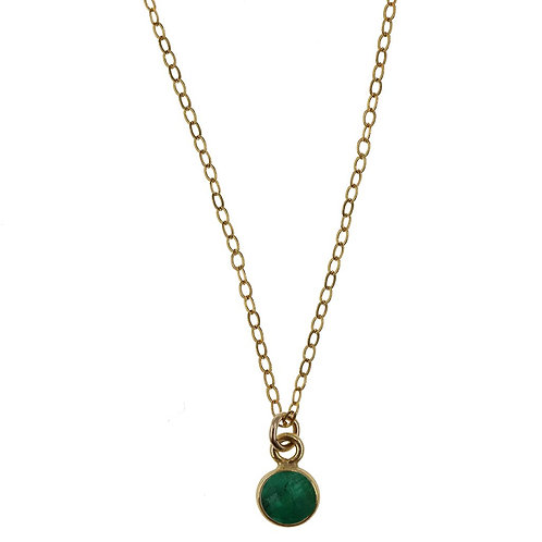 Charmed by Emerald Mini Gold Necklace