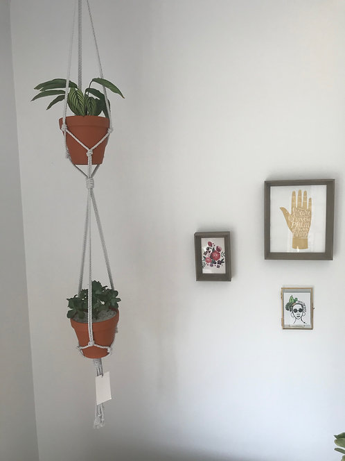 Double Plant Hanger with Brass Attachment