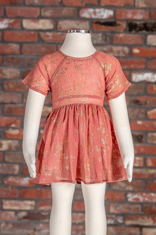 ML Kids - Gold Foil Floral Dress