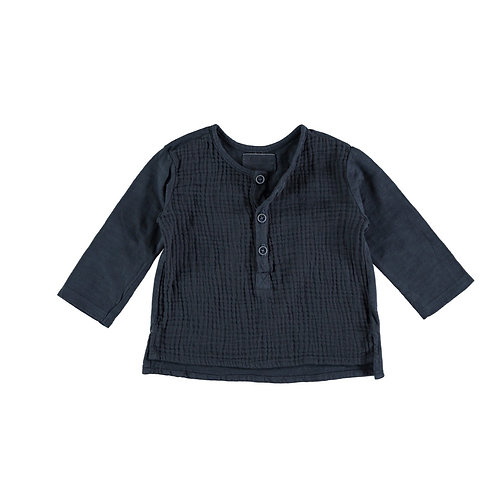 Petit Indi - Navy Long Sleeve & Bermuda Striped Shorts