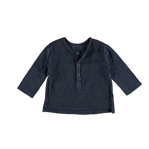 Petit Indi - Navy Long Sleeve & Bermuda Striped Shorts