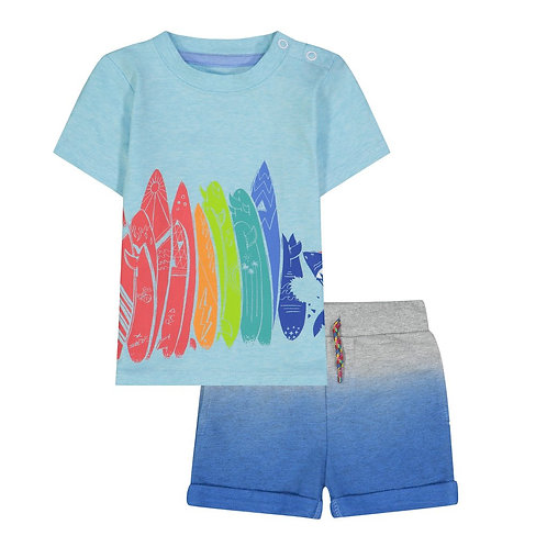 Andy & Evan - Surf Shark T-Shirt and Ombre Shorts Set