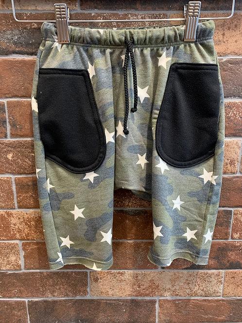 Jagged Culture - Green Camo Star Long Shorts