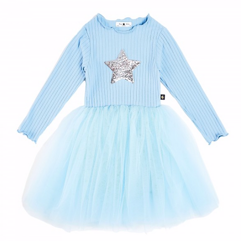 Petite Hailey - Sky Blue Star Tutu Dress