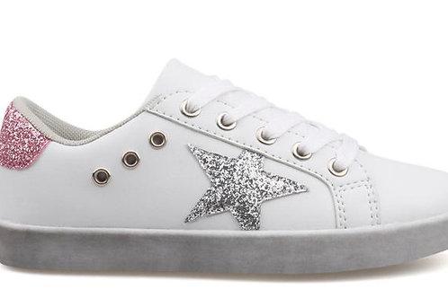 Hoo Shoes - Silver Glitter Star Sneaker