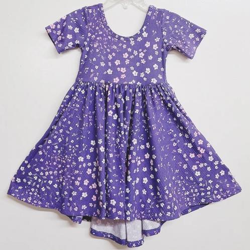 Eyee - Ribbed Purple Floral Dress