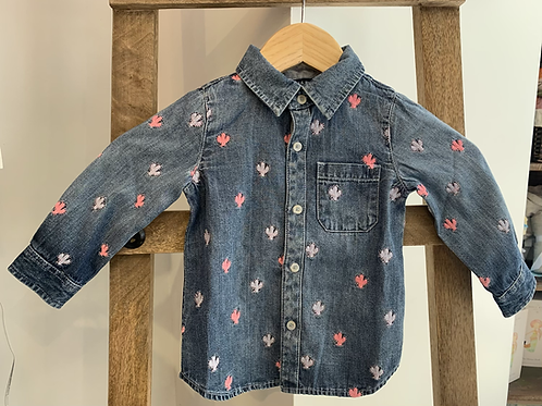 Blu and Blue - Embroidered Cactus Denim Button Up