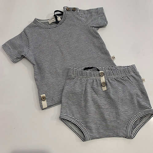 1+ In The Family -2pc Striped Tee/Bloomer Set