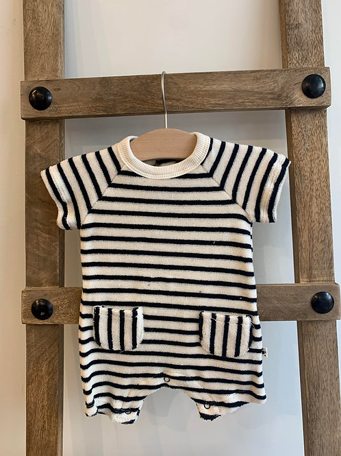 My Little Cozmo - Navy Striped Romper