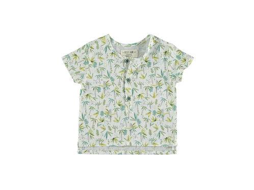 Petit Indi - Palm Tree Polo & Green Shorts Set