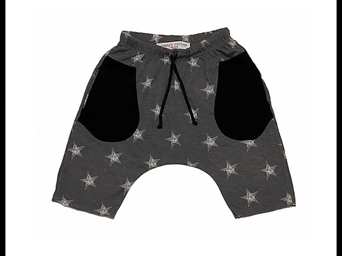 Jagged Culture - Grey w/White Stars Baggy Rocker Shorts