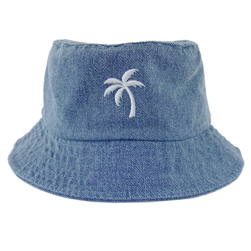 Tiny Whales - Palm Tree Denim Bucket Hat