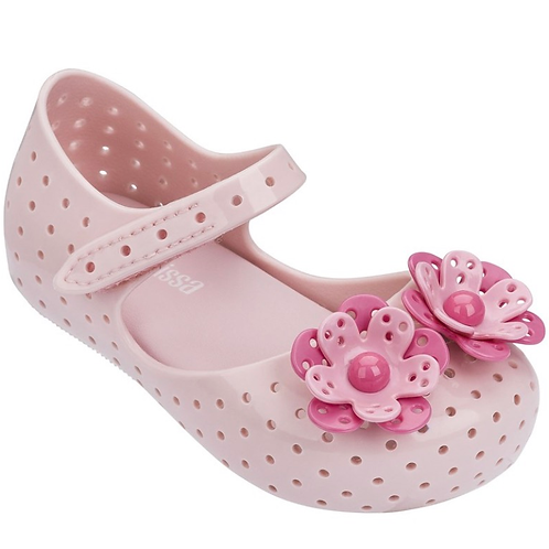 Mini Melissa - Pink floral Furadinha Maryjane Shoe