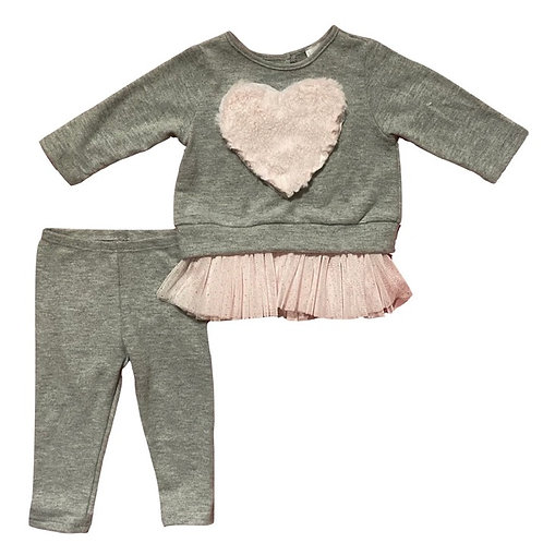 Little Mass - Heart Sweater W/Cami and Leggings