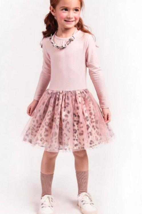 Imoga - Pink Chiffon Leopard Dress with Necklace