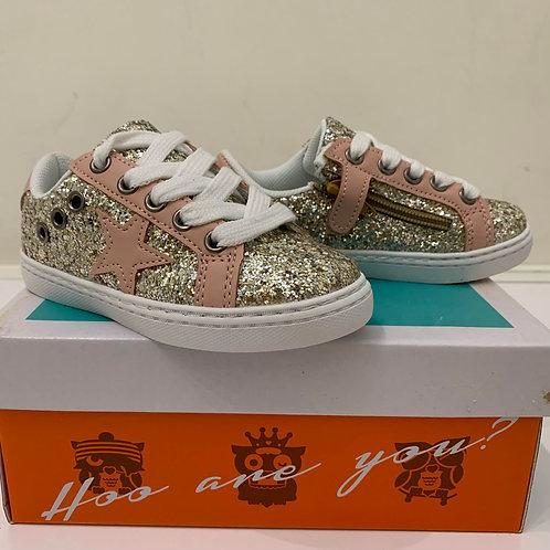 Hoo Shoes - Mia Star Rose Gold Glitter Sneaker